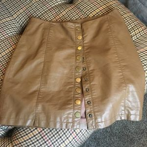 Free People Brown/Tan Pleather Skirt